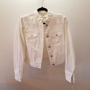 White Slightly-Distressed Jean Jacket